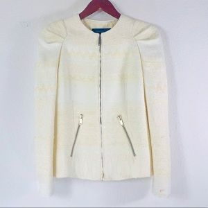 Zara ivory textured bubble shoulder jacket blazer